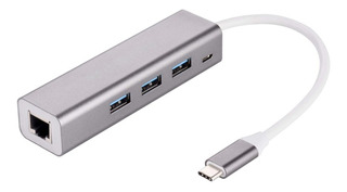 Usb C Hub A Usb 3.0 X3 + Red Aluminio Macbook Pc Lan Rj45