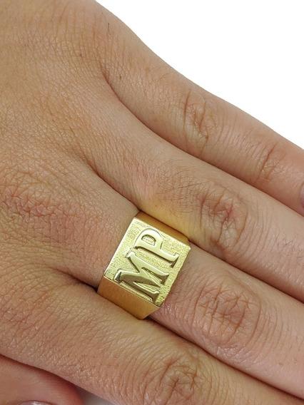 Anel Masculino Com 2 Letras Em Ouro 18kl