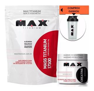 2 Hipercalórico Mass Titanium 3kg + Creatina Max + Brinde