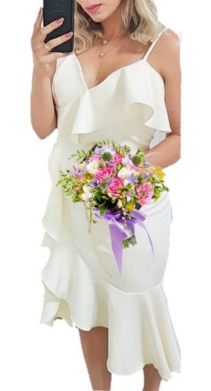 Vestido Moda Noiva Festa Casamento Civil Look Chique Noivado