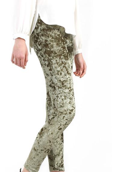 Leggings Mujer Terciopelo Color Verde Lob
