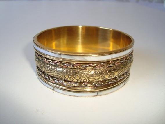 Pulseira Bracelete Metal Dourado Madrepérola Indiana 3 Cm 3