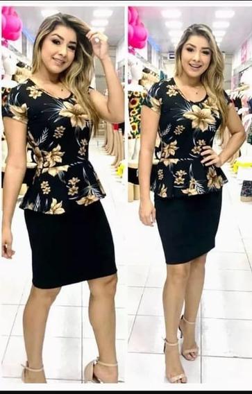 Vestido Moda Evangélica Com Blusa Floral