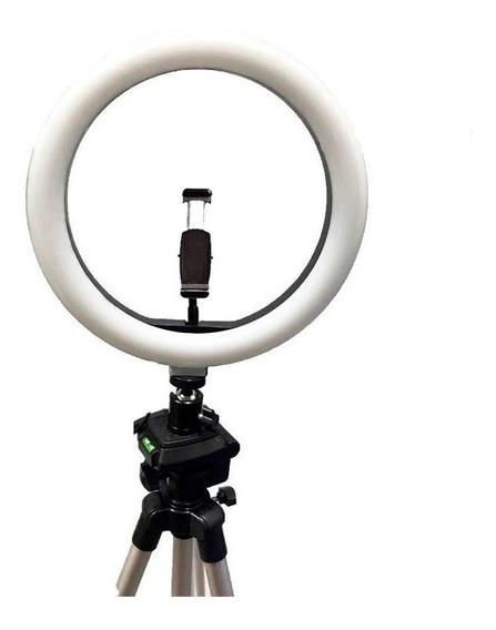 Iluminador Ring Ligth Anel Luz 26cm Make Fotos Com Tripé 1.20 Kit Completo Dimmer Selfie Youtuber Blogueiro Maquiagem