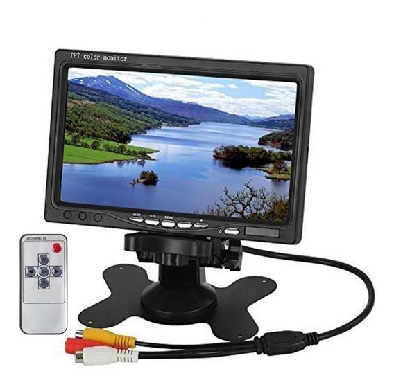 Monitor 7 Polegadas C/ Entrada Rca Para 2 Câmeras De Ré
