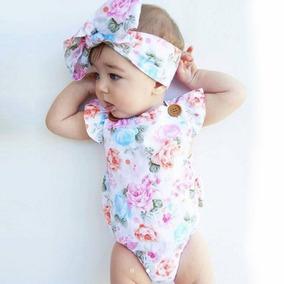 Conjunto Roupa Infantil Bebe Menina Body Com Faixa De Cabelo