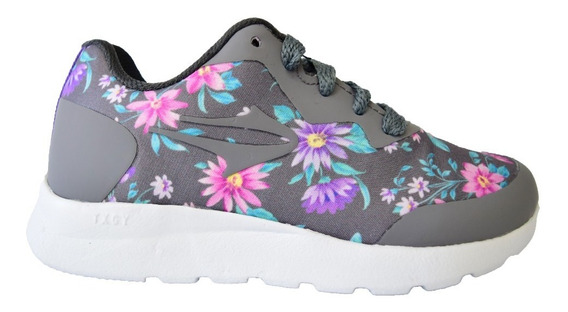 Zapatillas Topper Nena Notae Ill Kids Gris Floreada