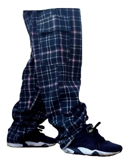 Calça Skate Sarja Masculina Xadrez Cargo