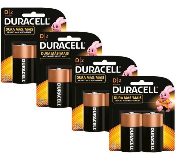 Kit Duracell Pilha Alcalina D Com 8 Unidades