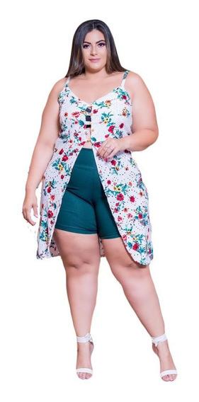 Conjunto Plus Size Blusa Mullet Short Roupa Feminina P Gorda