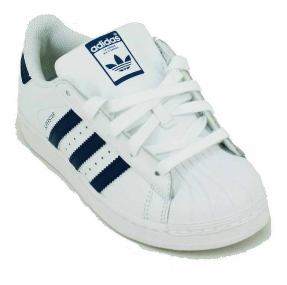 Zapatilla adidas Ori Superstar Blanco/azul Niño Deporfan