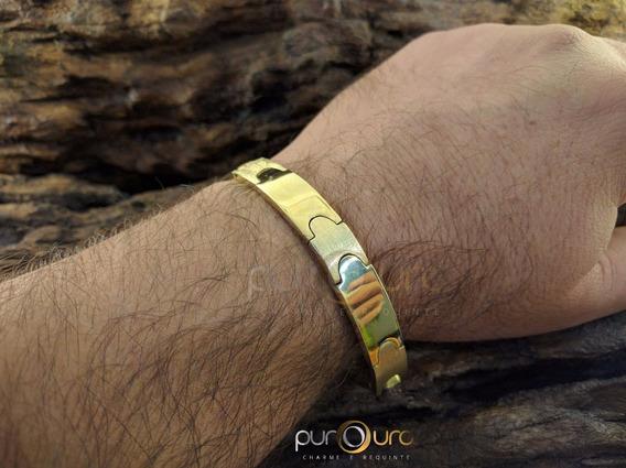 Bracelete Chapa 30,0g Em Ouro Amarelo 18k - 750