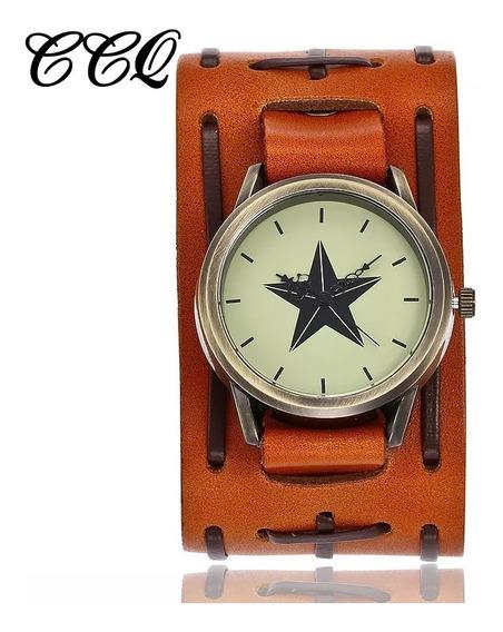 Relógio Bracelete Em Couro Masculino Pulseira Larga Quartz