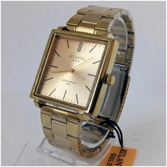 Relógio Masculino Dourado Atlantis Gold A3173 Original Quadrado Vip Luxo 12x Sem Juros