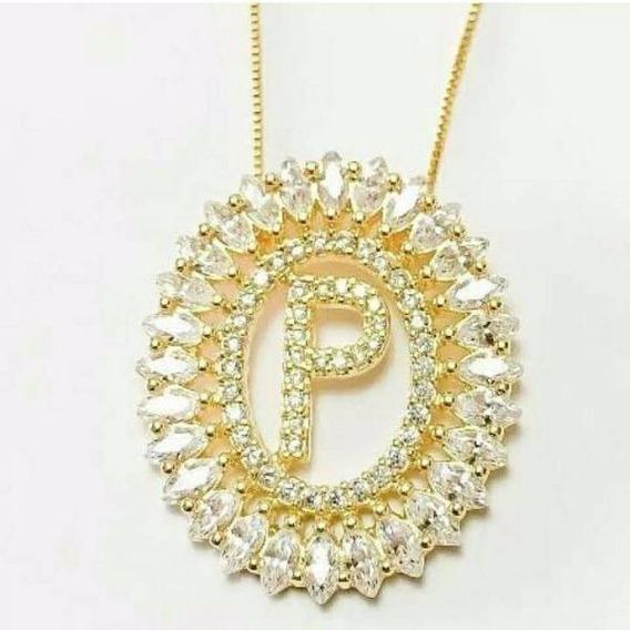 Colar Mandala Letra Folheado Ouro 18k