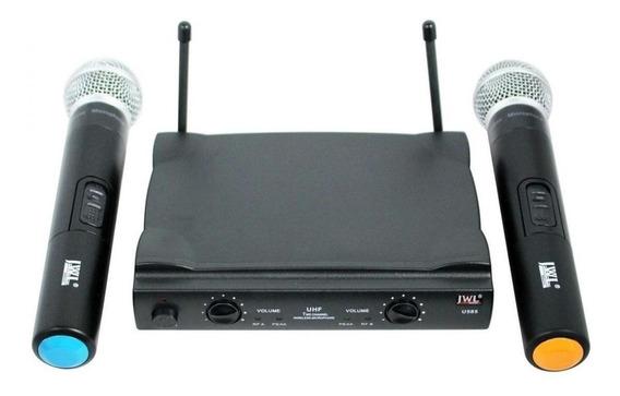 Kit de microfones JWL U-585 dinâmico cardióide e unidirecional preto