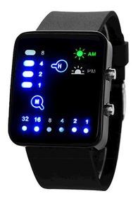 Relógio Masculino Pulso Led Digital Binário Pulseir Silicone