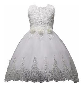 Vestido Festa Infantil Branco Daminha Casamento Calda