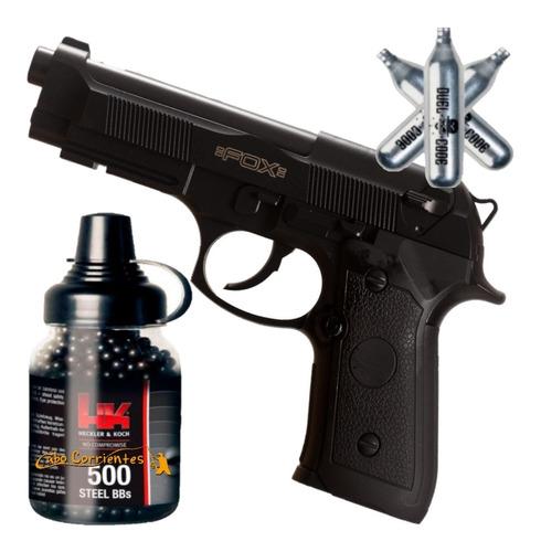 Pistola Co2 Fox Replica Beretta 92 Semi Automatica + Kit