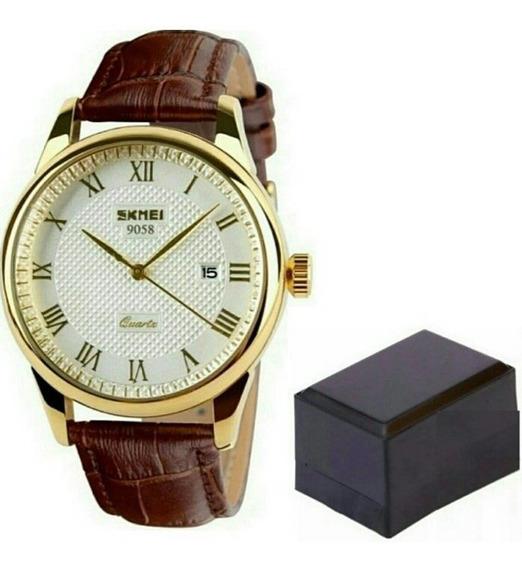 Relógio Masculino Skmei 9058 Luxo Original Branco Dourado
