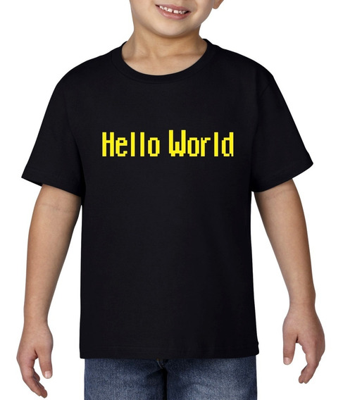 Camiseta Playera Bebe Niño Geek Programador Hello World Amar