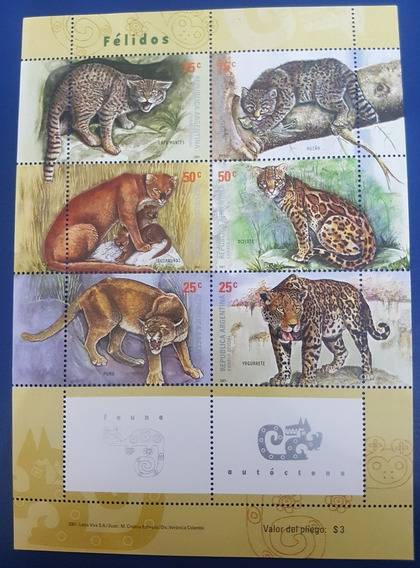 2001 Fauna- Felidos- Puma- Yaguarete - Argentina Mnh