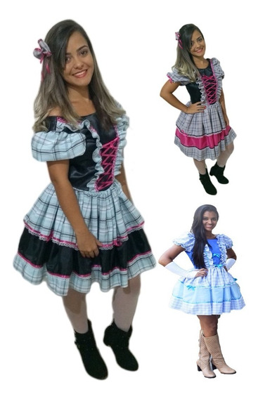 Vestido De Festa Caipira Junina Adulto+ Luva+laço De Cabelo