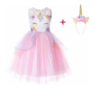 Ninas Flor Unicornio Disfraz Vestido Talla 4-12años