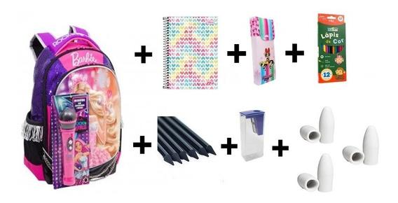18 Itens Kit Escolar Mochila Feminina Barbie Frete Gratis