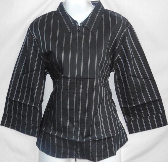 Camisas Para Mujer Manga 3/4 Blusas A Rayas De Cierre