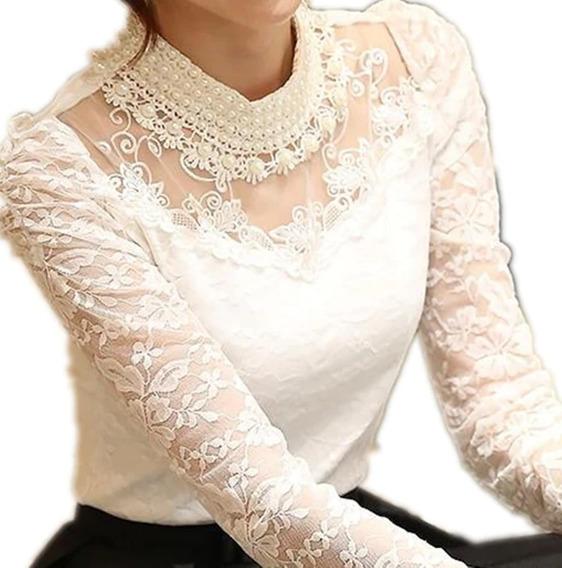 Camisa Feminino Blusa Social Manga Longa Princesa De Luxo
