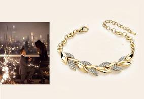 Pulseira Dourada Zircônia Luxo