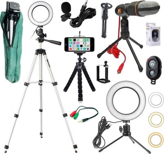 Kit Youtuber Tripé 1,30m Lapela Microfone Mesa + Ring Light