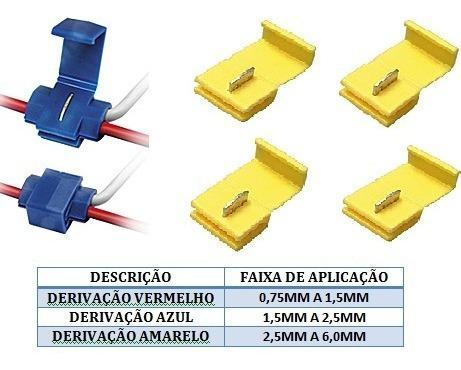 Conector Derivação Amarelo Cabos 4,00 -6,0mm 50 Pçs Amarelo