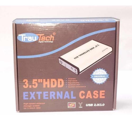 Case Sata Trautech De Disco Pc 3.5 A Usb 2.0 Enclosure Exter