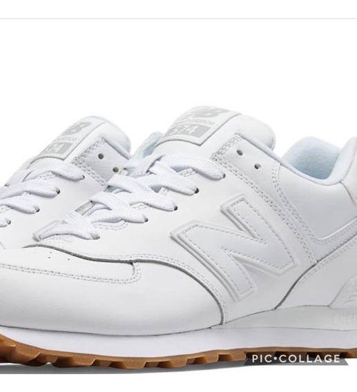 Zapatillas New Balance 574 Blancas Cuero Unisex Entrega Ya!!