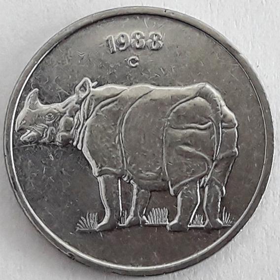 India Moneda Del Año 1988 De 25 Paise - Rinoceronte
