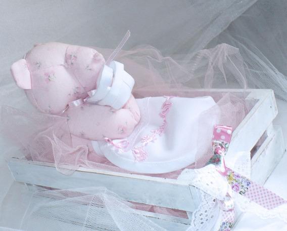 Osita Oso Bebé Hipoalergénica Algodón Con Babero Y Cajoncito