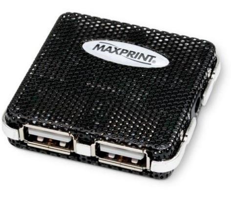 Mini Hub 4 Portas Usb 2.0/1./ Preto Maxprint - Novo