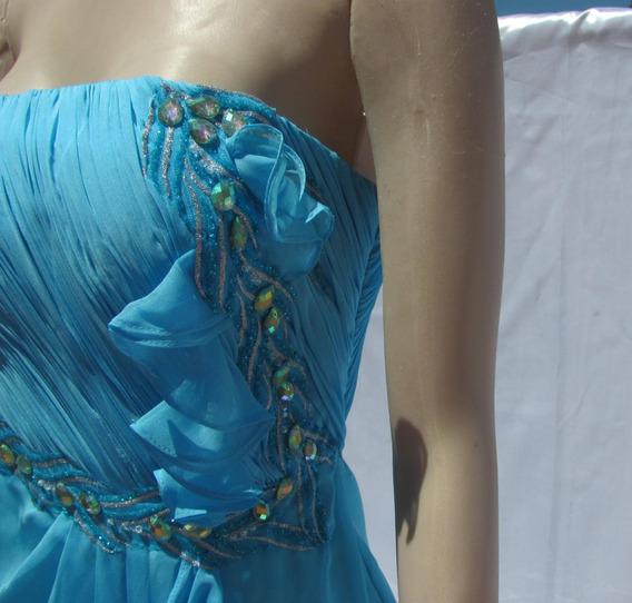 Vestido De Fiesta De Seda Con Apliques De Piedras 15 Años