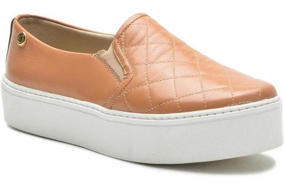 Sapato Slip On Feminino Em Couro Sola Alta Plataforma