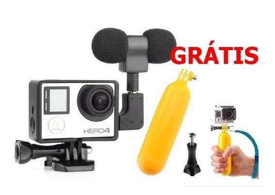 Microfone Stereo Gopro Hero 3+ Hero 4 Kit Go Pro Brinde Boia