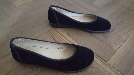 Chatitas, Ballerina, Zapatos Mujer De Gamuza Negra Con Suela
