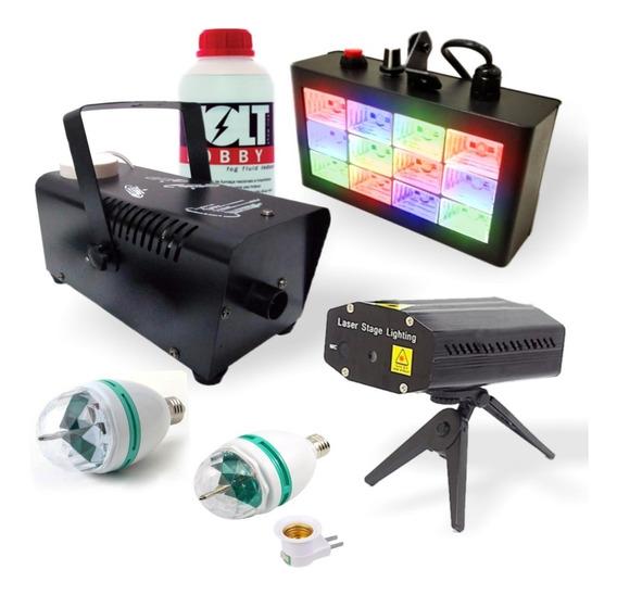Kit Iluminação Luz Festa Laser Máq Fumaça 110v Strobo Disco