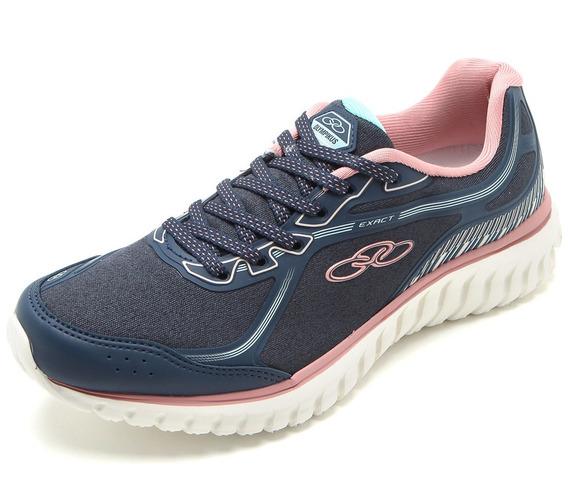 Tênis Caminhada Olympikus Exact Feminino Azul E Rosa