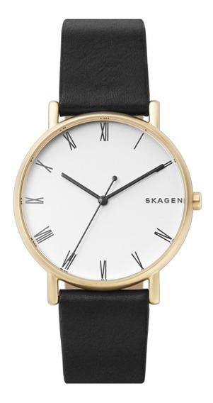 Reloj Caballero Skagen Signatur Skw6426 Color Negro De Piel