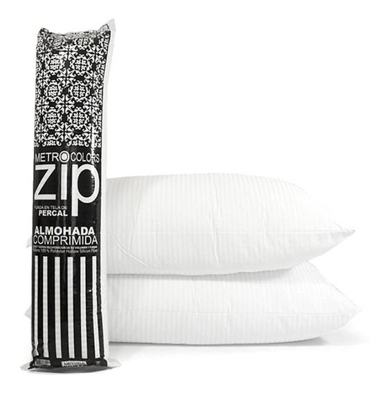 3 X Almohada Inteligente Zip Vellon Siliconado Percal 180h