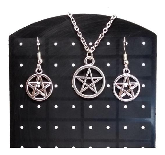 Conjunto Colar + Brincos Pentagrama Supernatural Wicca
