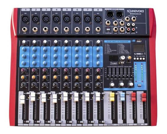 Mesa De Som Soundvoice 8 Canais Ms802 Eux C/ Efeitos Ms0064