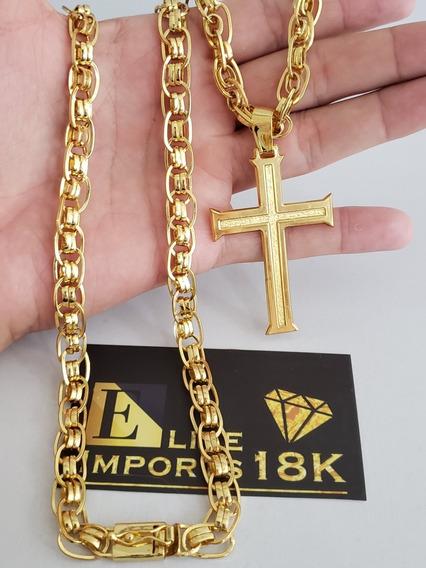 Cordão 10mm Imperador Com Pingente Banhado A Ouro 18k Luxo